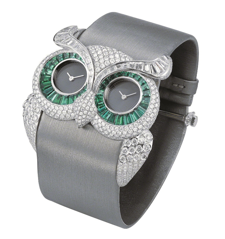 chopard emerald and diamond owl watch