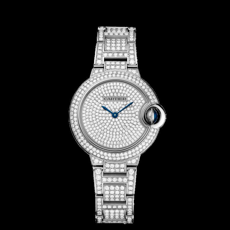 BALLON BLEU DE CARTIER WATCH 33 MM Automatic, white gold, diamonds, REF- HPI00562 - Copy